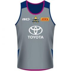 2018 North QLD Cowboys ADULTS Training Singlet Grey/Pink