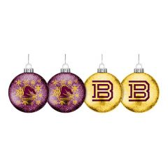 Brisbane Broncos Set Of 4 Glitter Baubles