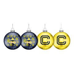 North QLD Cowboys Set Of 4 Glitter Baubles