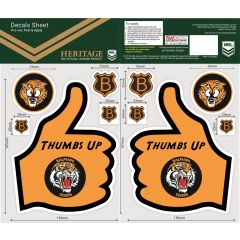 Wests Tigers Thumbs Up Decal Sticker Sheet