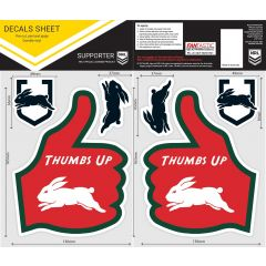 South Sydney Rabbitohs Thumbs Up Decal Sticker Sheet