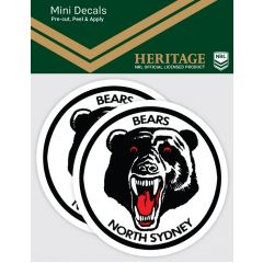 North Sydney Bears 2 Pack Mini Heritage Decal Stickers