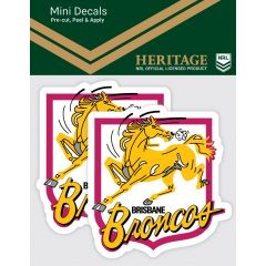 Brisbane Broncos 2 Pack Mini Heritage Decal Stickers