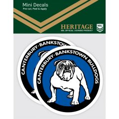 Canterbury Bulldogs 2 Pack Mini Heritage Decal Stickers