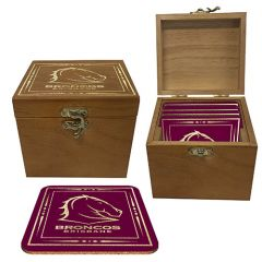 Brisbane Broncos S/4 Cork Coasters In Box