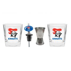 Newcastle Knights S/2 Glass Jigger and Pourer